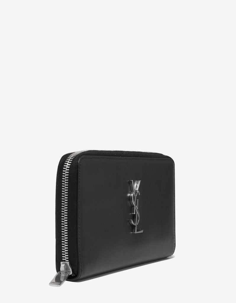 Black Logo Monogram Zip Wallet
