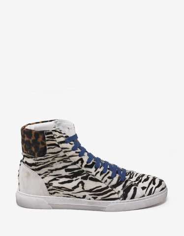 Saint Laurent White Animal Print Fur High Top Trainers