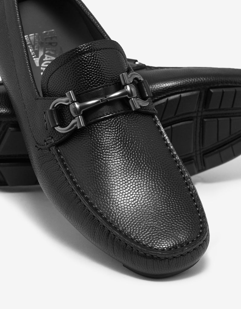 Parigi Black Leather Driving Shoes