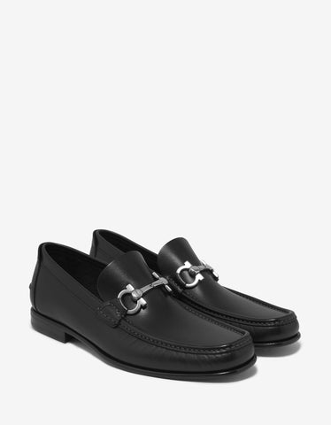 Salvatore Ferragamo Fiordi Black Leather Loafers