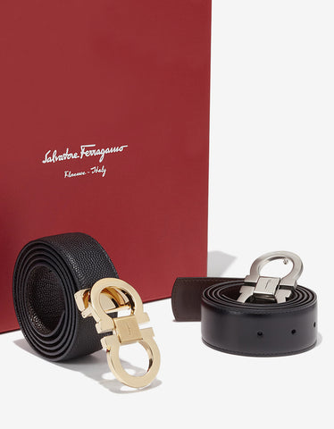 Salvatore Ferragamo Gancini Buckle Reversible 2 Belt Box Set