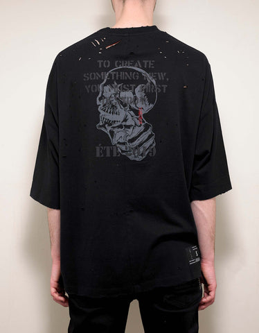Ben Taverniti Unravel Project Black Skull Print Oversized T-Shirt