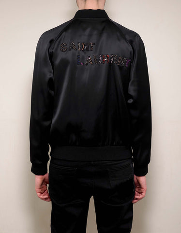 Saint Laurent Black Satin Varsity Jacket with Logo Embroidery