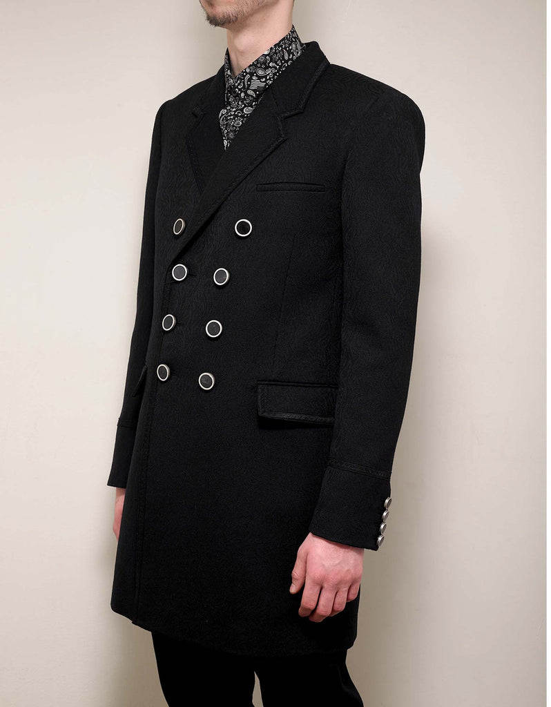 Paisley Jacquard Wool Officer's Coat