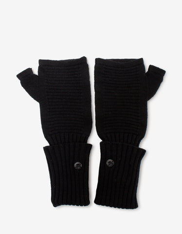 Black Tricolour Trim Logo Gloves