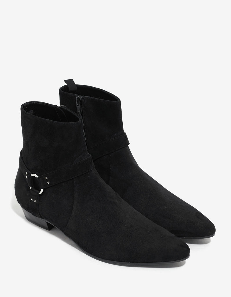 Devon 30MM Harness Black Suede Boots