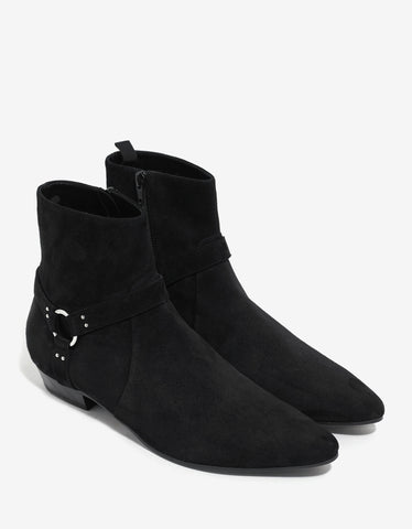 Saint Laurent Devon 30MM Harness Black Suede Boots