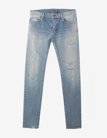 Saint Laurent Stonewash Blue D02 Destroyed Skinny Jeans