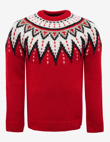 Saint Laurent Red Fair Isle Wool Sweater