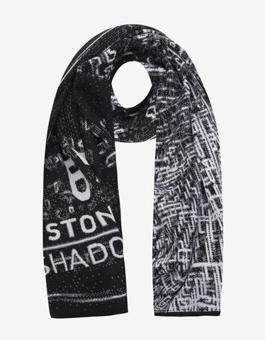 Stone Island Shadow Project Black & White Jacquard Wool Scarf