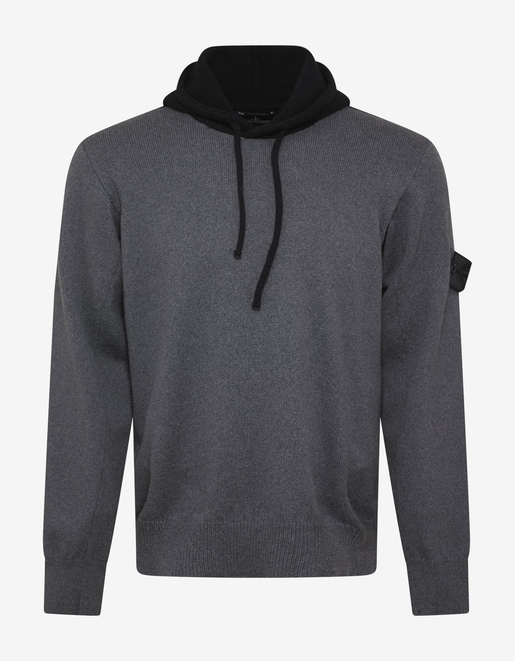 Bi-Colour Wool-Blend Knitted Hoodie -