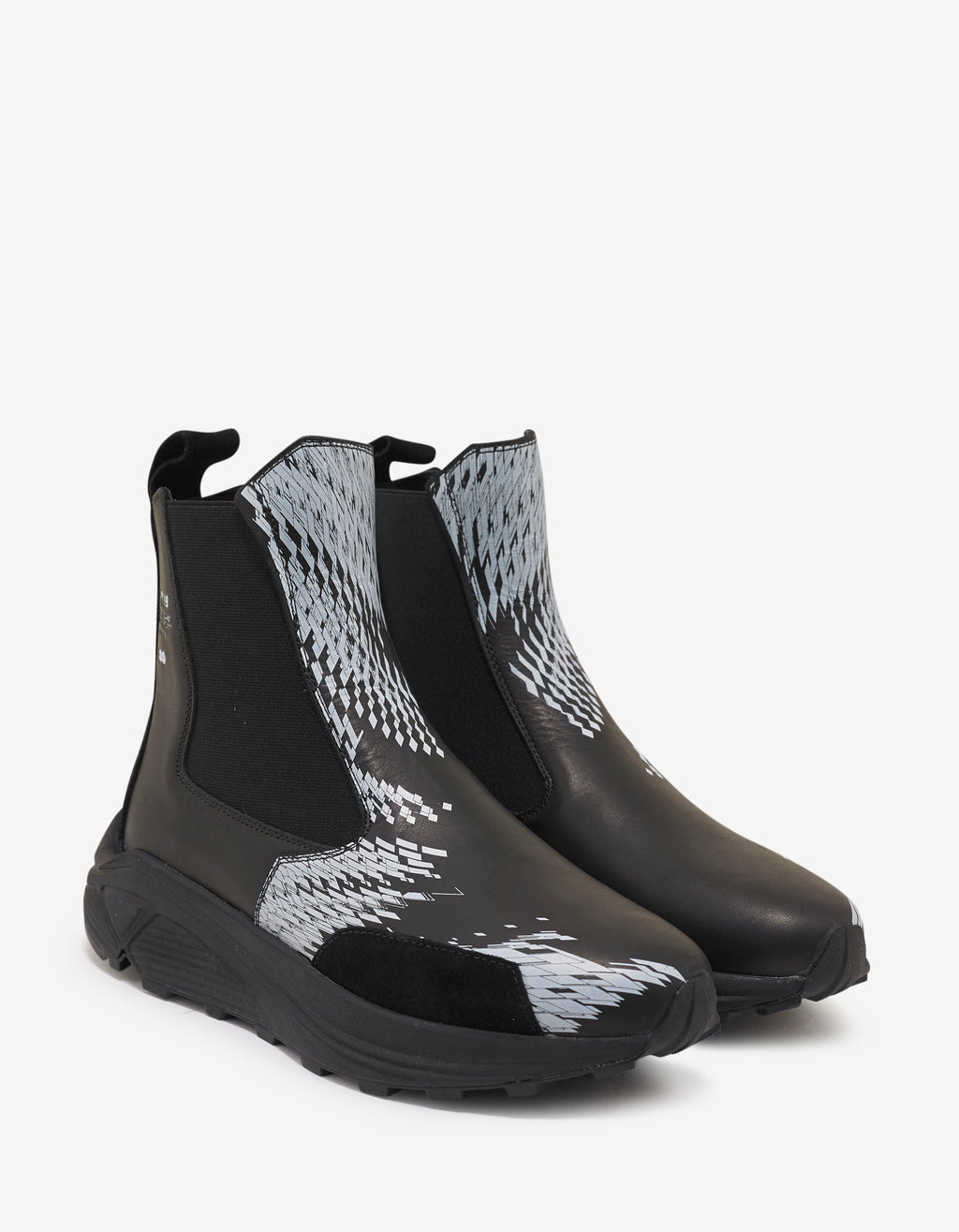 Black Graphic Print Leather Boots