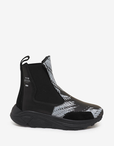 Stone Island Shadow Project Black Graphic Print Leather Boots