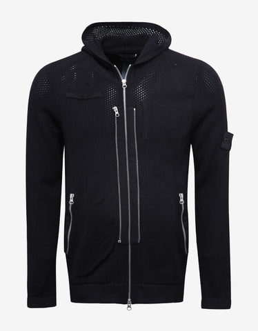 Stone Island Shadow Project Black Mesh Knit Hoodie
