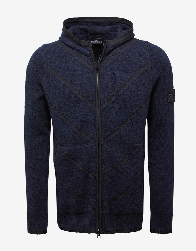 Navy Blue Knitted Hoodie