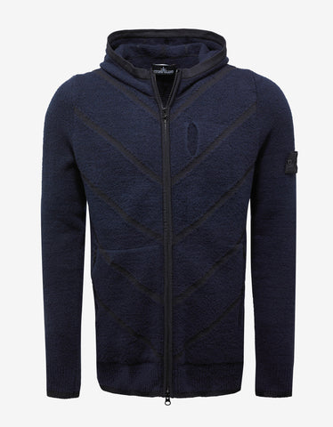 Stone Island Shadow Project Navy Blue Knitted Hoodie