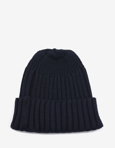 Navy Blue Ribbed Beanie Hat