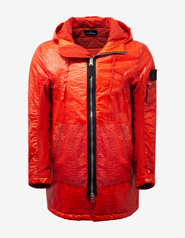 Stone Island Shadow Project Dual Grid Orange Nylon Parka