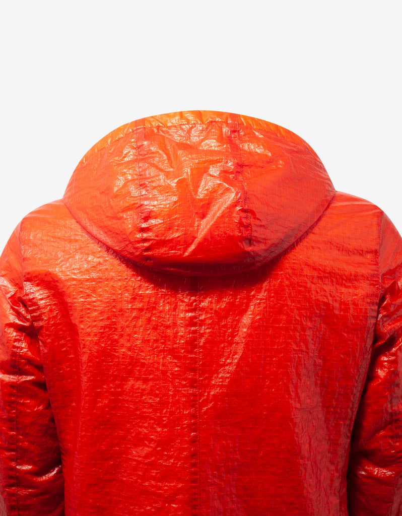 Dual Grid Orange Nylon Parka