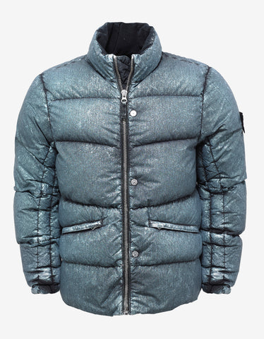 Emerald Green Metallic Mist Nylon Down Jacket