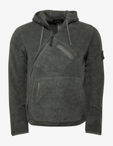 Stone Island Shadow Project Green Fleece Hooded Sweater