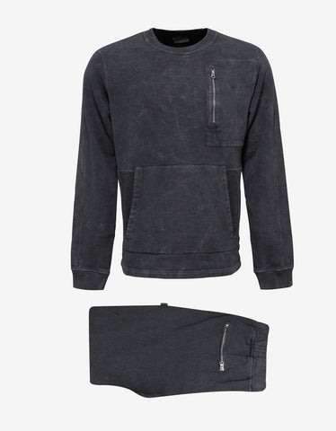 Stone Island Shadow Project Grey Over Dyed Crew Neck Tracksuit