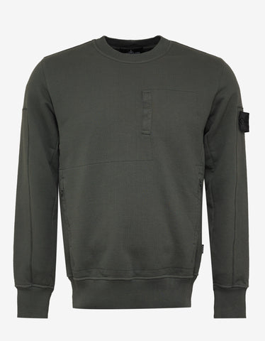 Stone Island Shadow Project Khaki Multi-Pocket Sweatshirt
