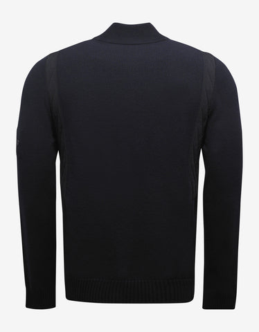 Stone Island Shadow Project Navy Blue Cardigan with Ribbed Panels