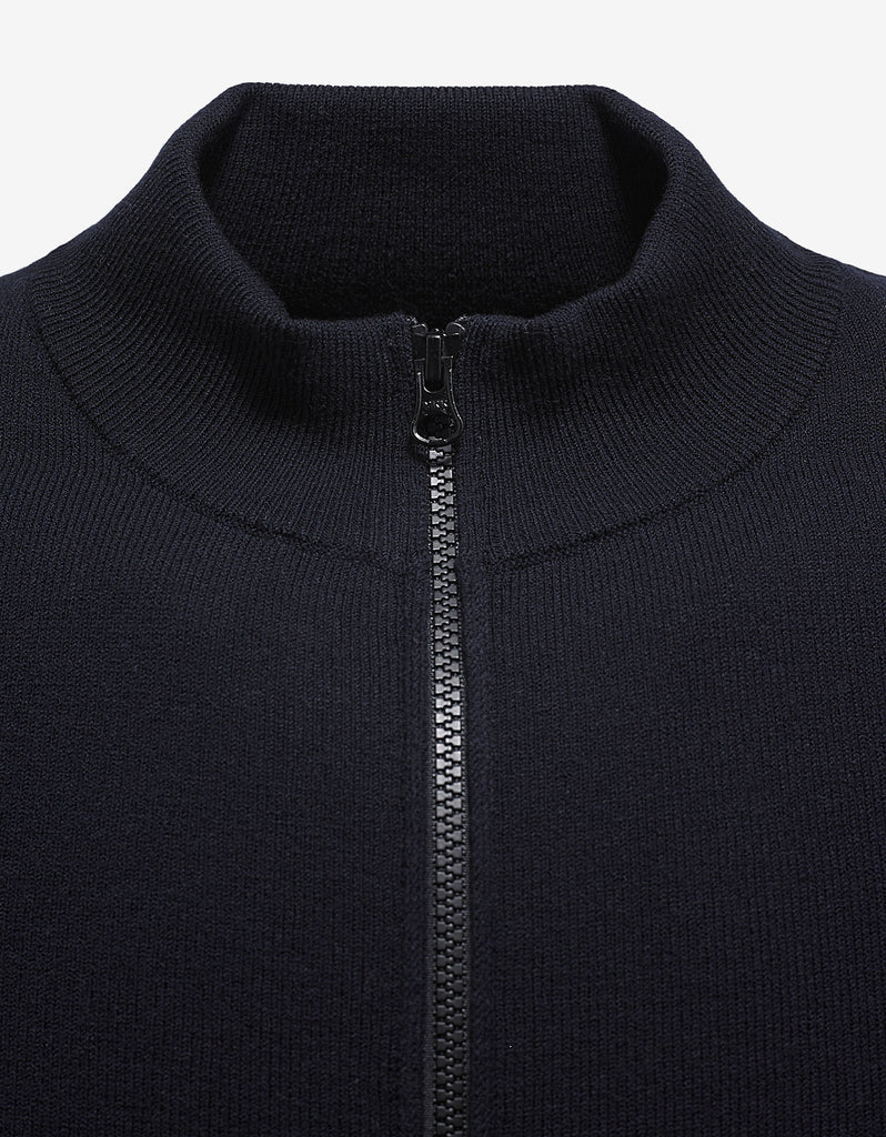 Navy Blue Cardigan with Ribbed Panels