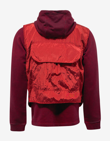 Stone Island Shadow Project Red Over Dyed Hoodie with Nylon Vest