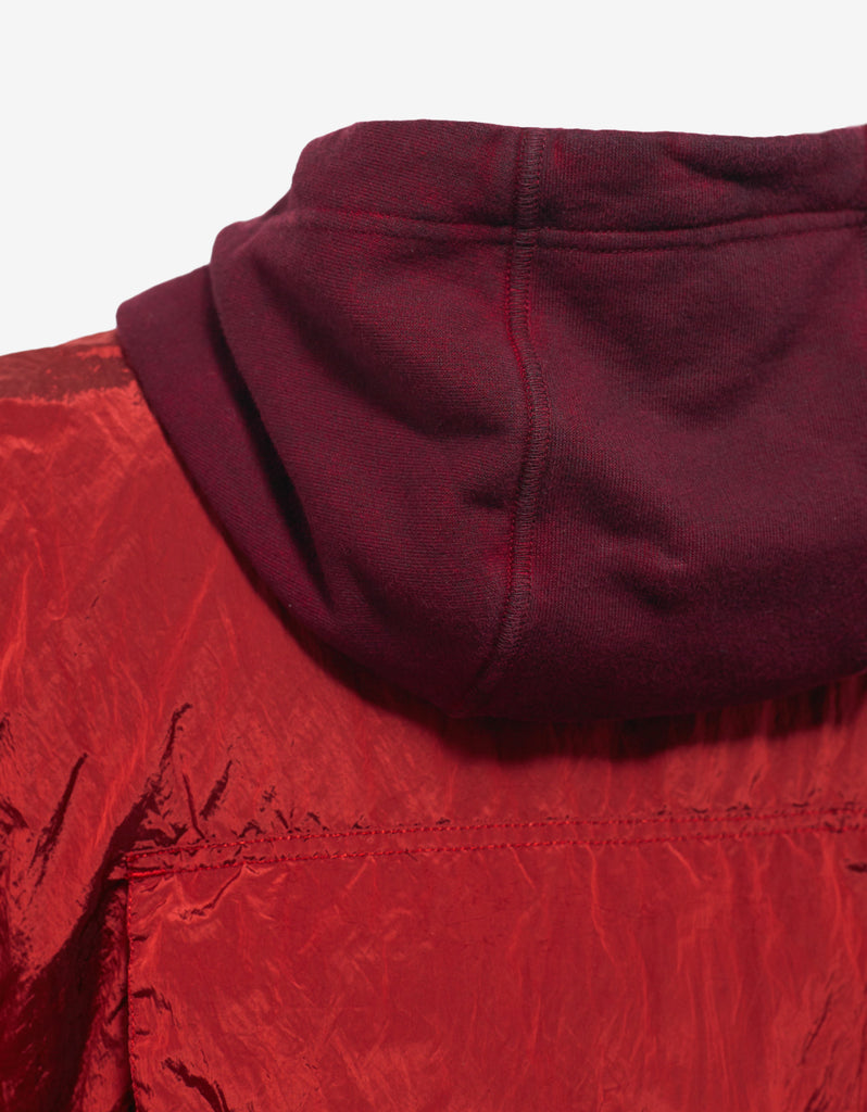 Red Over Dyed Hoodie with Nylon Vest