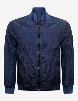 Striped Nylon Metal Navy Blue Bomber Jacket