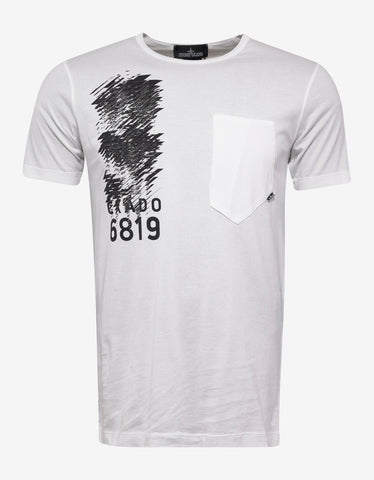 Stone Island Shadow Project White Chest Pocket Graphic T-Shirt