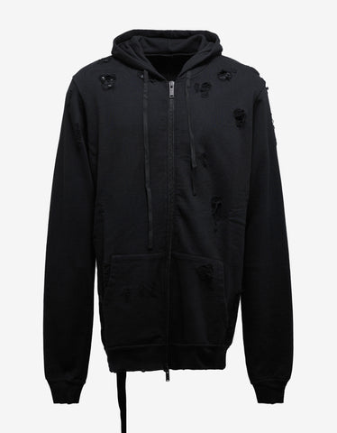Black Destroyed Terry Zip Hoodie