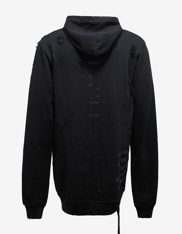 Ben Taverniti Unravel Project Black Destroyed Terry Zip Hoodie