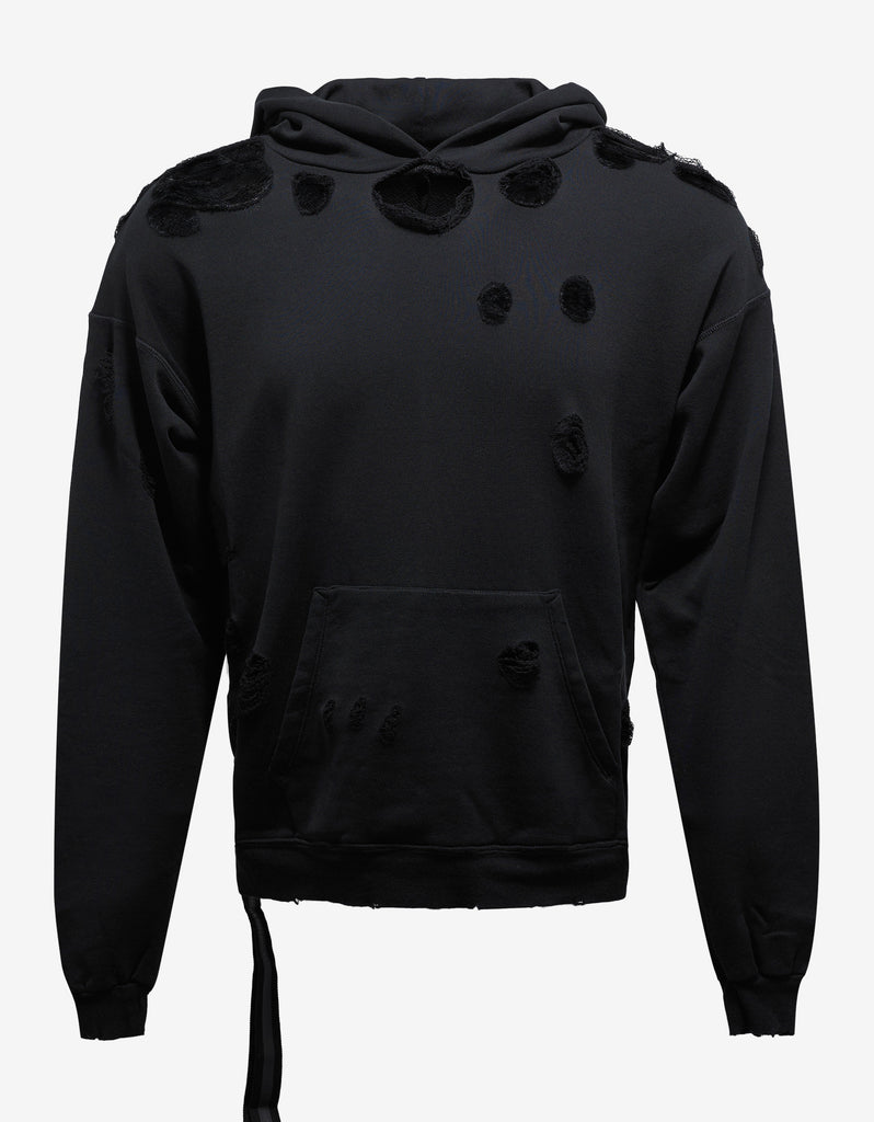 Black Destroyed Terry Pull Over Hoodie