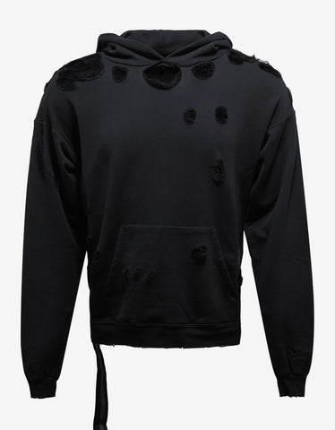 Ben Taverniti Unravel Project Black Destroyed Terry Pull Over Hoodie