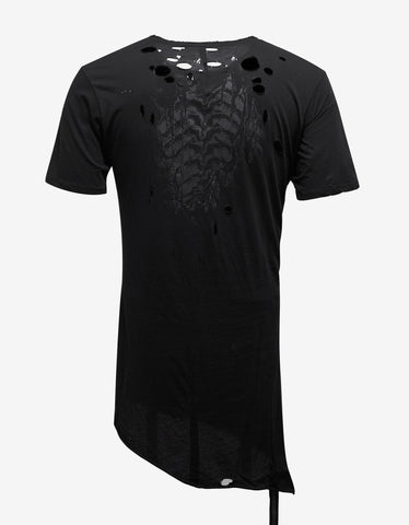 Ben Taverniti Unravel Project Black Rib Cage Print Destroyed T-Shirt