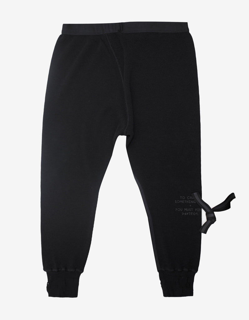 Black Waffle Knit Destroyed Leggings
