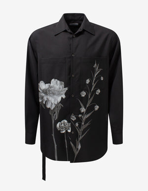 Black Flowersity Print Oversized Shirt
