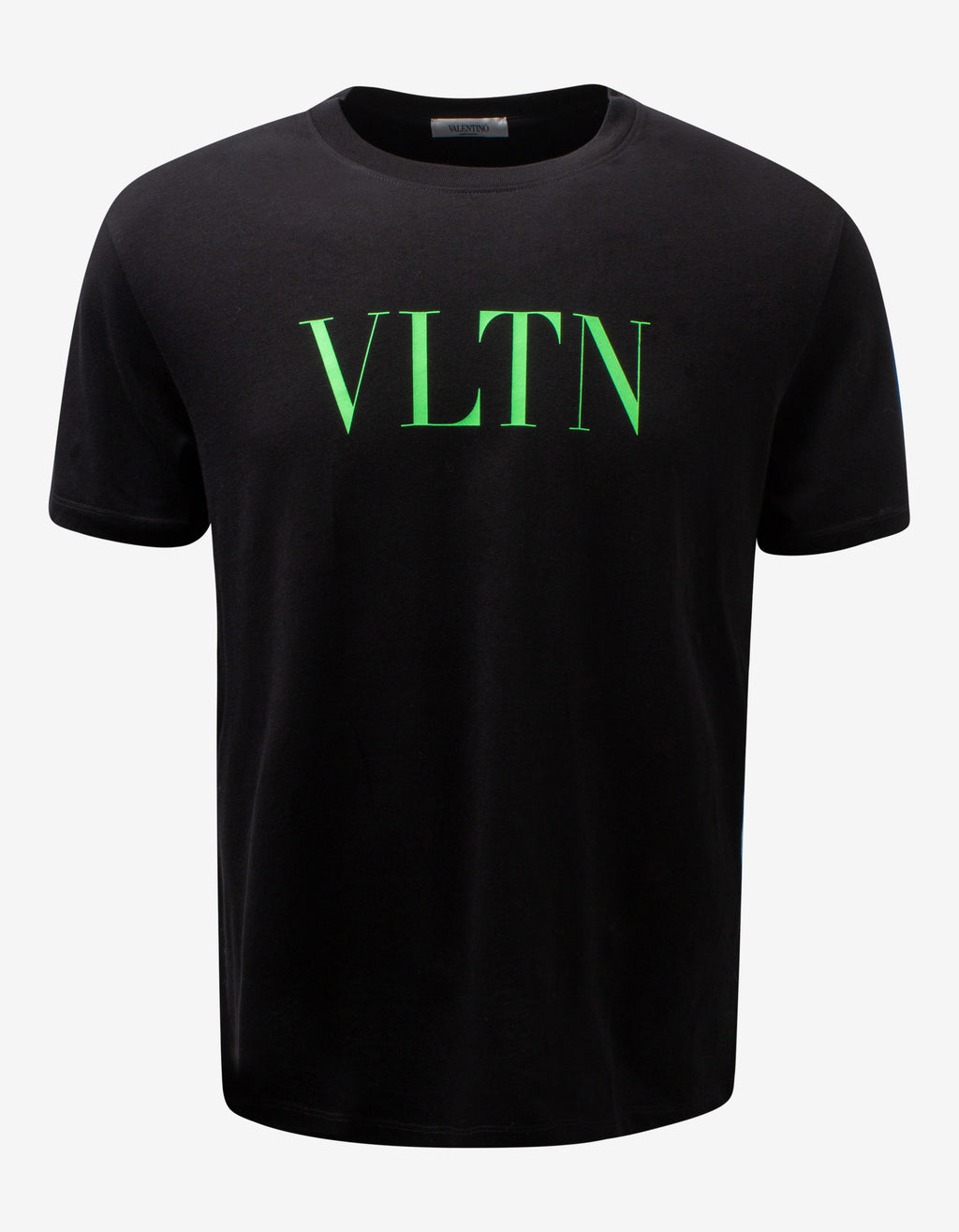 Black T-Shirt with Neon Green VLTN Print