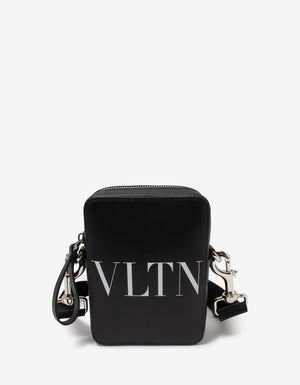 Black VLTN Print Small Leather Crossbody Bag