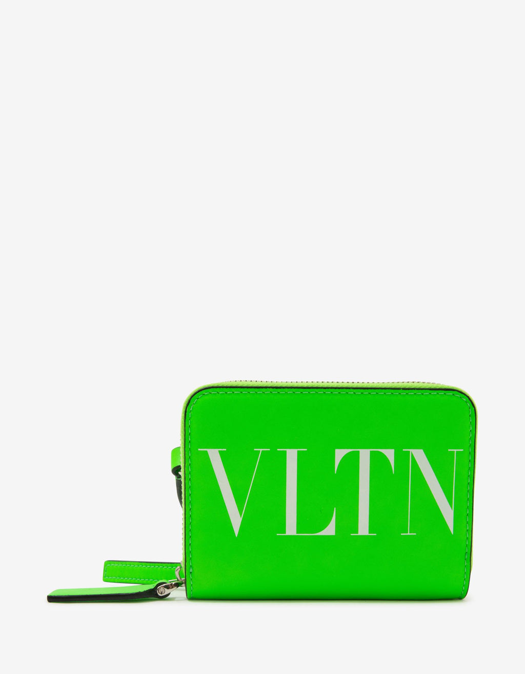 Neon Green VLTN Wallet with Neck Strap -