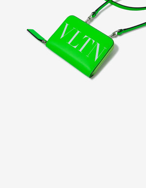 Neon Green VLTN Wallet with Neck Strap