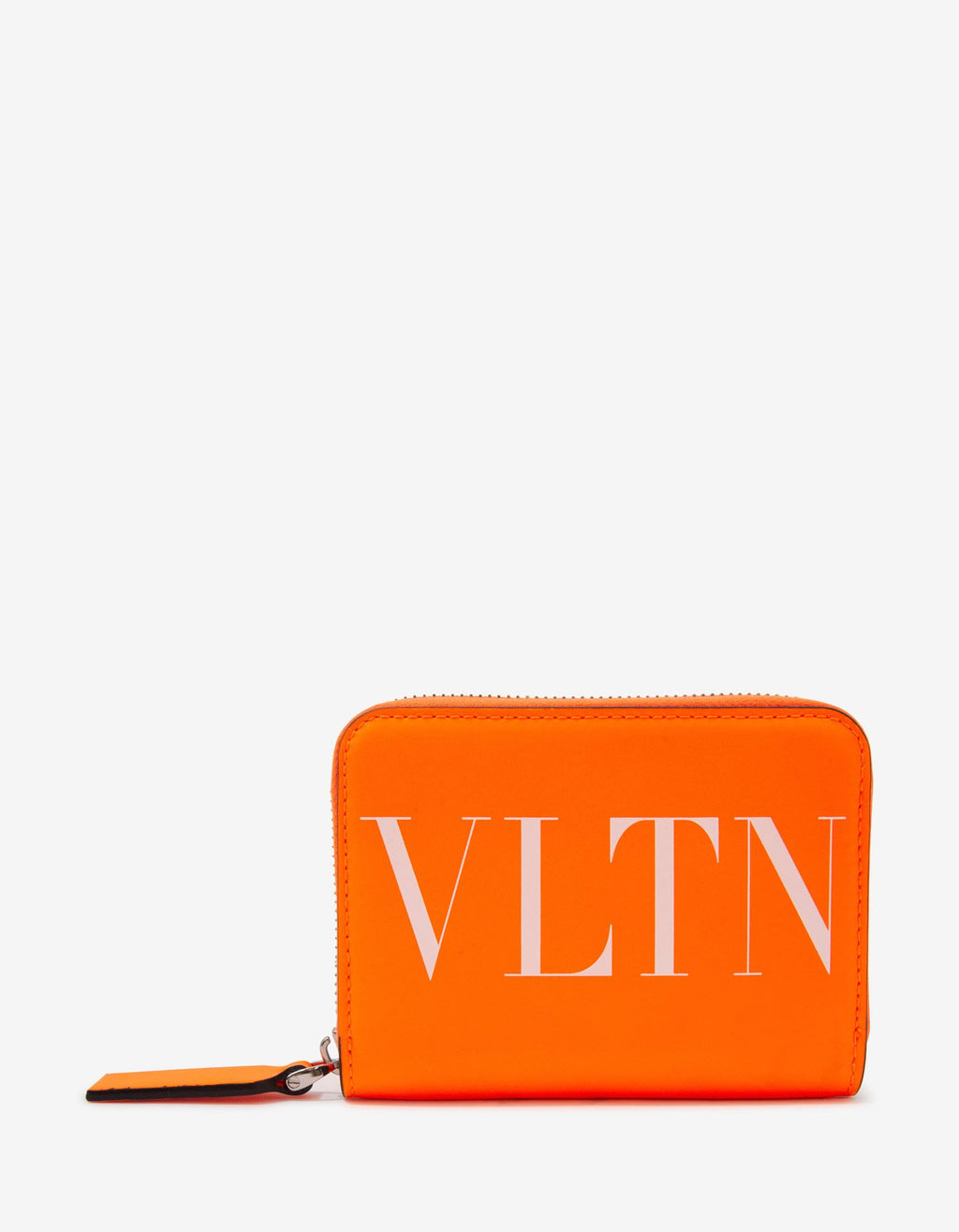 Neon Orange VLTN Wallet with Neck Strap -