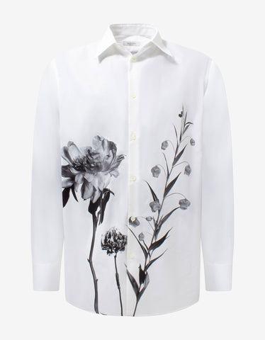 Acanthus Print Long Sleeve Polo T-Shirt