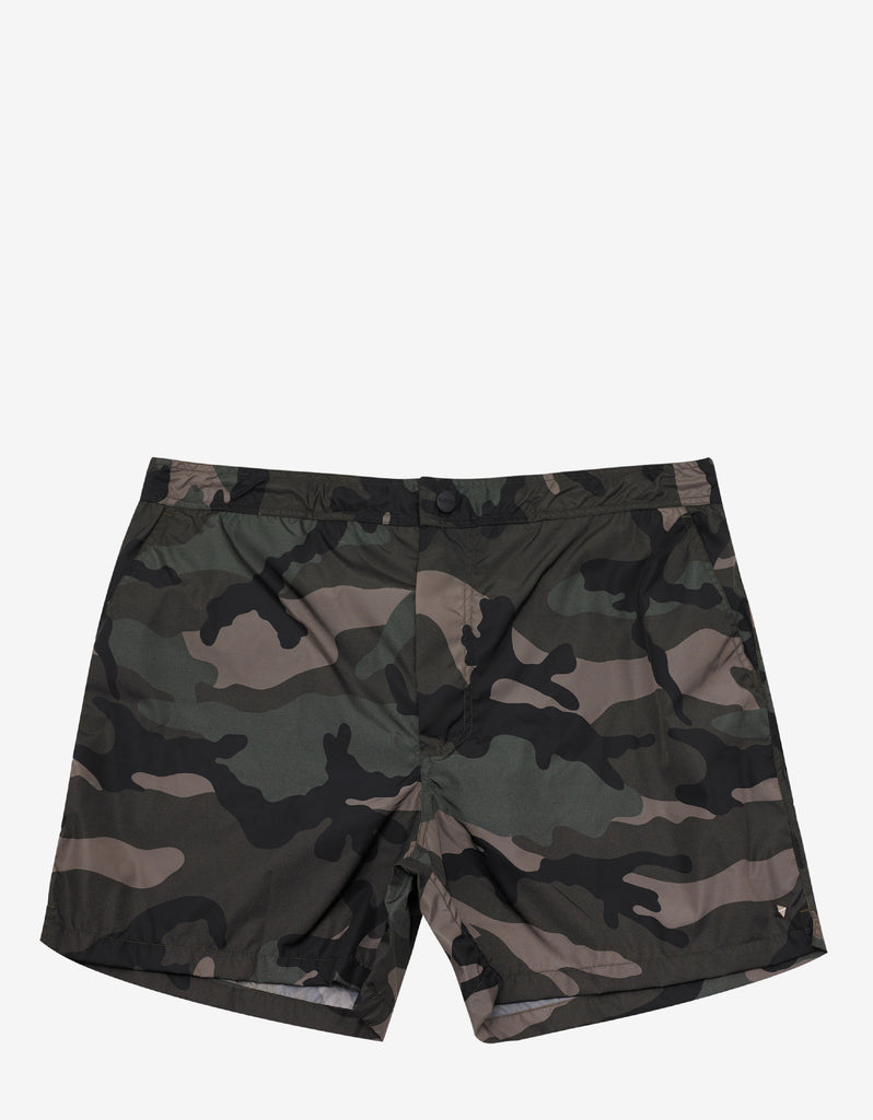 Army Green Camouflage Print Swim Shorts
