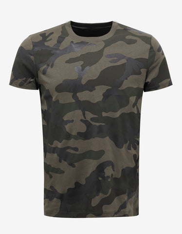 Valentino Army Green Camouflage Print T-Shirt