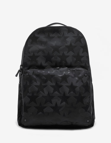 Valentino Garavani Black Camustars Canvas Backpack