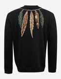 Black Sweatshirt with Feather Embroidery